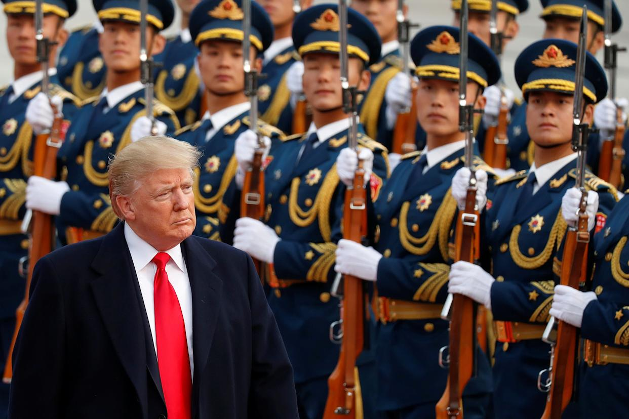 U.S. President Donald Trump takes part in a welcoming ceremony at the Great hall of the People in Beijing, China.