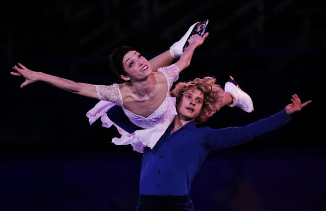 Meryl Davis and Charlie White of the United States perform during the figure skating exhibition gala at the Iceberg Skating Palace during the 2014 Winter Olympics, Saturday, Feb. 22, 2014, in Sochi, Russia. (AP Photo/Bernat Armangue)