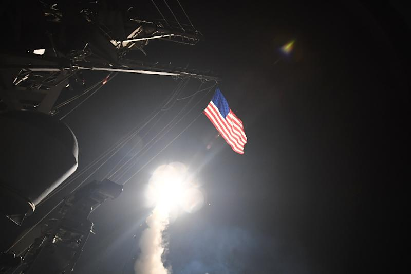 A missile is launched from the USS Porter in the Mediterranean Sea on April 7, 2017, when President Donald Trump ordered a massive military strike on a Syrian air base