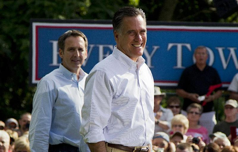 In this June 16, 2012, photo, former Minnesota Gov. Tim Pawlenty, left, stands with Republican presidential candidate, former Massachusetts Gov. Mitt Romney during a campaign stop at campaign stop at Cornwall Iron Furnace in Cornwall, Penn. President Barack Obama and his Democratic allies aren't waiting for Romney to reveal his vice presidential choice. They're already trying to scuff up those considered by political insiders to be most likely to join the GOP ticket. The president's campaign started swinging at the potential Republican running mates, including Pawlenty, this week while urging home-state Democrats to chime in about the shortcomings   (AP Photo/Evan Vucci)