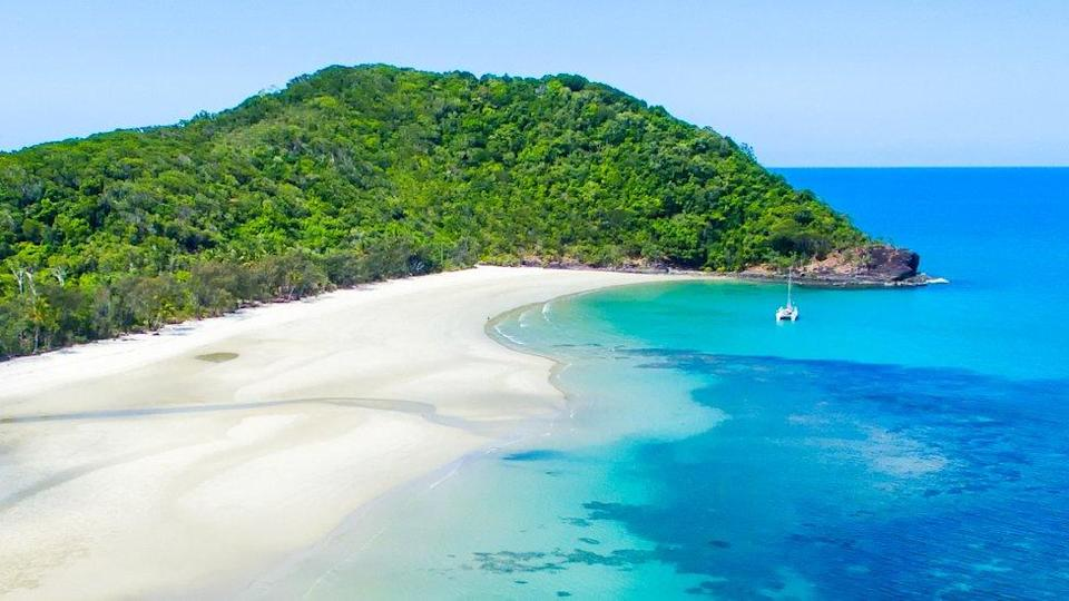 A beach at Cape Tribulation at the edge of the Daintree rainforest