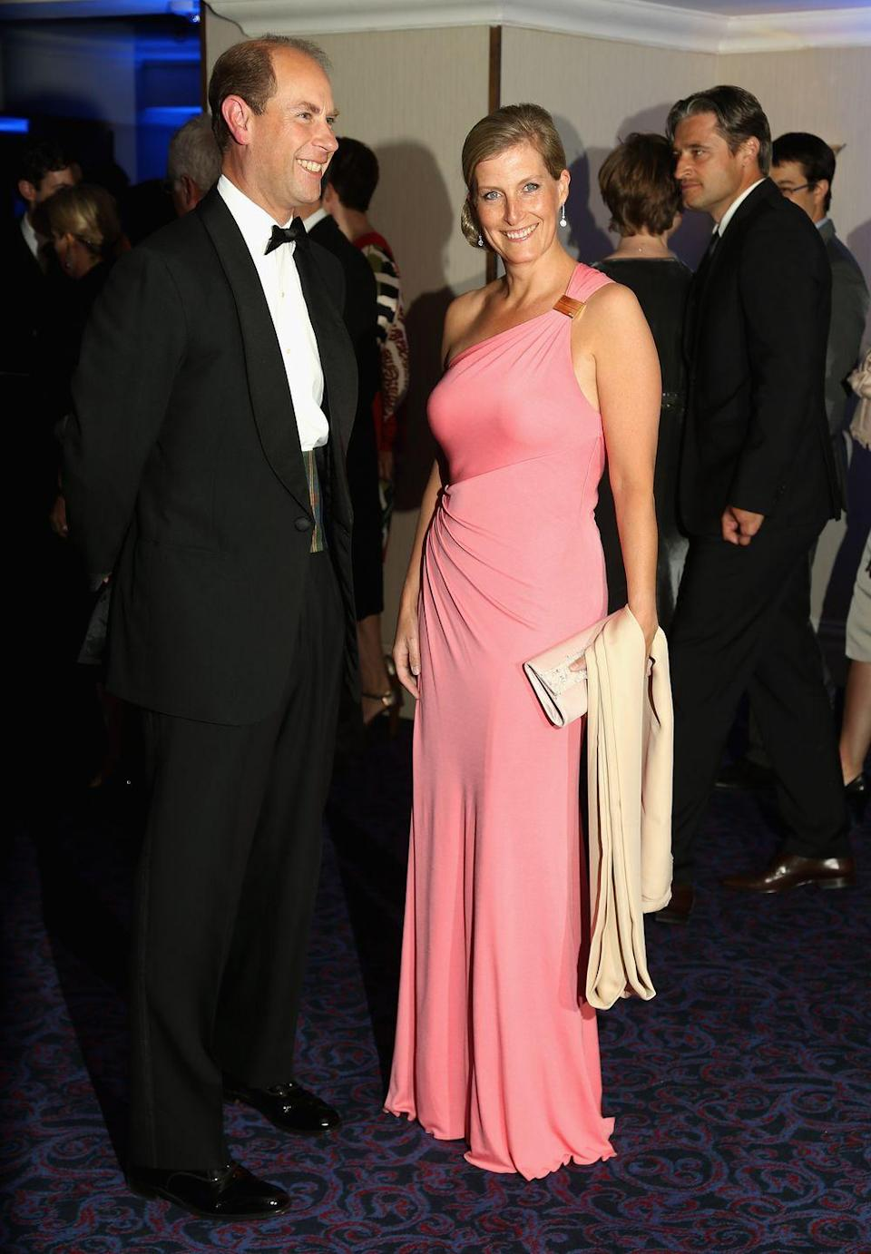 <p>Sophie chose this pink one shouldered gown for the 2012 Paralympic Ball, which she attended with Prince Edward. </p>