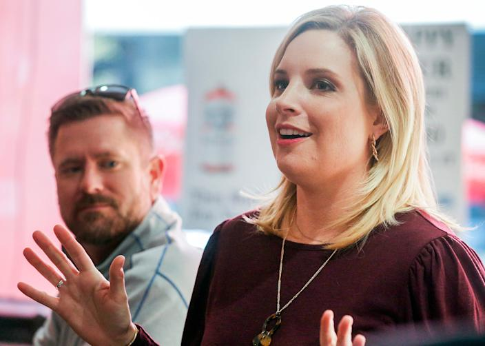 Republican candidate for Iowa's First Congressional District Ashley Hinson speaks to supporters at Jimmy Z's 112 2nd St SE, in southeast Cedar Rapids, Iowa, on Tuesday, Nov. 3, 2020. (Jim Slosiarek/The Gazette)