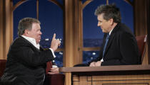 """Actor William Shatner, left, chats with host Craig Ferguson during a segment of the """"Late Late Show with Craig Ferguson"""" at CBS Television City in Los Angeles."""