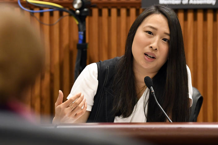 In this Feb. 13, 2019 file photo, New York Assemblywoman Yuh-Line Niou, D-New York, speaks during a public hearing on sexual harassment in the workplace, in Albany, N.Y. (Hans Pennink/AP Photo)