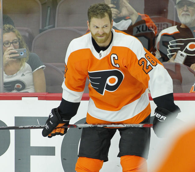 "<a class=""link rapid-noclick-resp"" href=""/nhl/teams/phi/"" data-ylk=""slk:Philadelphia Flyers"">Philadelphia Flyers</a>' <a class=""link rapid-noclick-resp"" href=""/nhl/players/4002/"" data-ylk=""slk:Claude Giroux"">Claude Giroux</a> saw the ice while up a man more than anyone last season. (AP Photo/Tom Mihalek)"