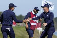Team USA's Justin Thomas and Team USA's Jordan Spieth celebrate on the 16th hole during a foursomes match the Ryder Cup at the Whistling Straits Golf Course Saturday, Sept. 25, 2021, in Sheboygan, Wis. (AP Photo/Jeff Roberson)
