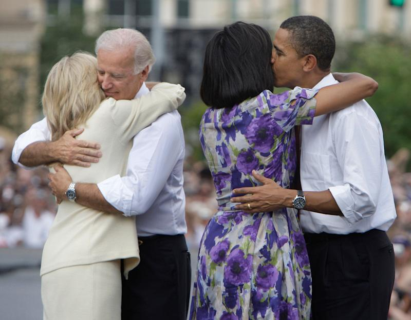 Jill Biden and Joe Biden; Michelle Obama and Barack Obama