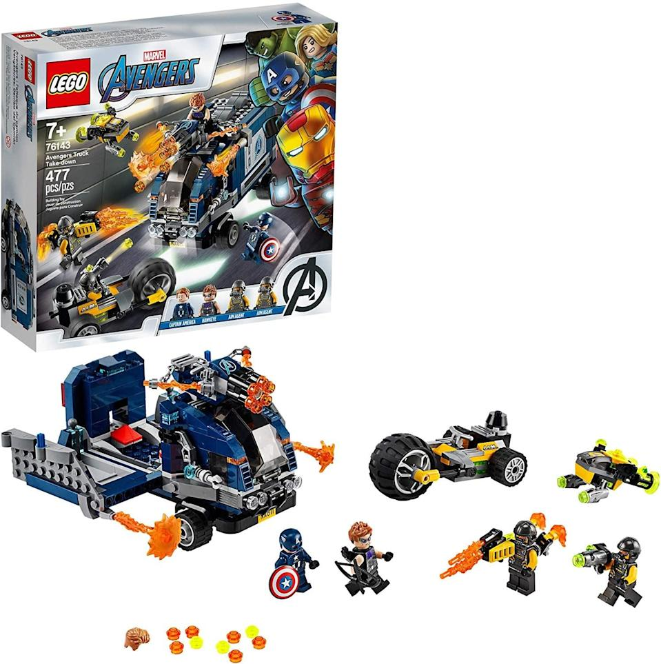 "<p>The <a href=""https://www.popsugar.com/buy/Lego-Avengers-Truck-Take-Down-551169?p_name=Lego%20Avengers%20Truck%20Take-Down&retailer=amazon.com&pid=551169&price=32&evar1=moms%3Aus&evar9=47244751&evar98=https%3A%2F%2Fwww.popsugar.com%2Ffamily%2Fphoto-gallery%2F47244751%2Fimage%2F47244782%2FLego-Avengers-Truck-Take-Down&list1=toys%2Clego%2Ctoy%20fair%2Ckid%20shopping%2Ckids%20toys&prop13=api&pdata=1"" class=""link rapid-noclick-resp"" rel=""nofollow noopener"" target=""_blank"" data-ylk=""slk:Lego Avengers Truck Take-Down"">Lego Avengers Truck Take-Down</a> ($32) has 477 pieces and is best suited for kids ages 7 and up.</p>"