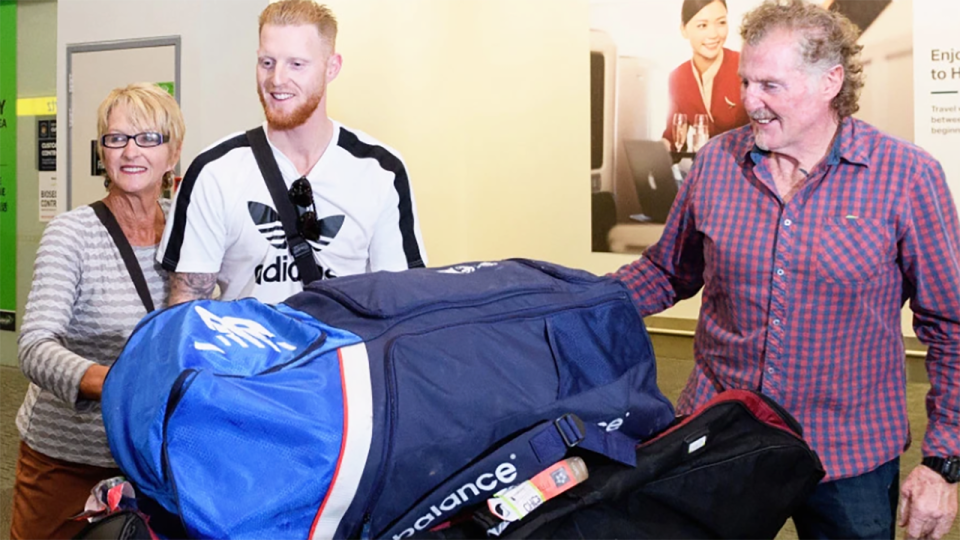 Ben Stokes, pictured here with parents Deb and Gerard in Christchurch.