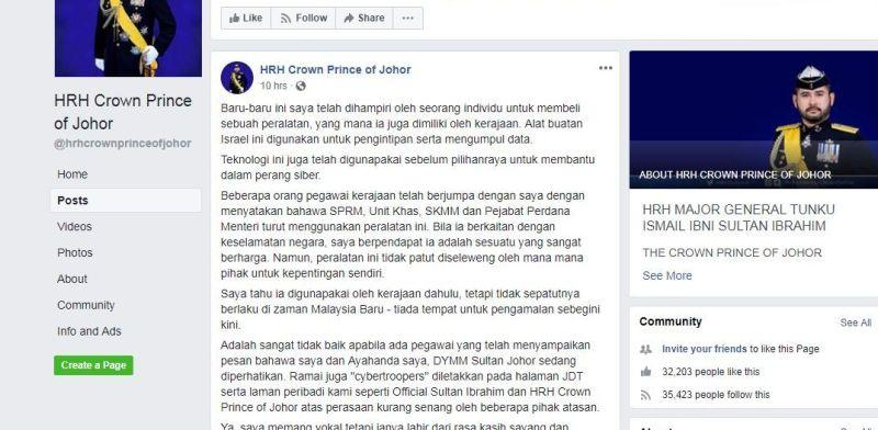 A screengrab of Tunku Ismail's Facebook post related to the issue and information on the two monitoring devices used.