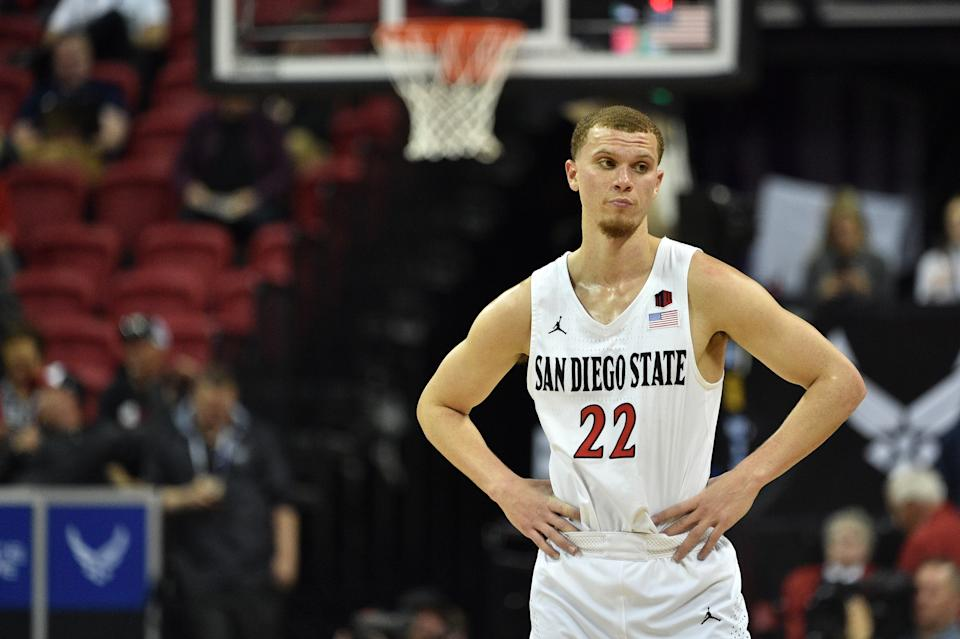 Malachi Flynn #22 of the San Diego State Aztecs looks on against the Air Force Falcons during a quarterfinal game of the Mountain West Conference basketball tournament at the Thomas & Mack Center.