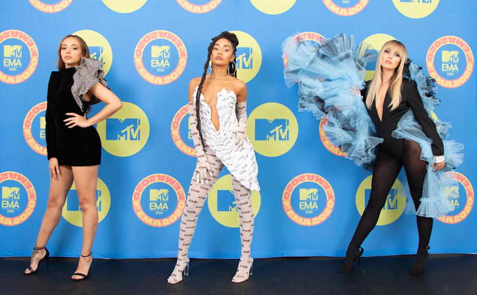 LONDON, ENGLAND - NOVEMBER 01: EMBARGOED FOR PUBLICATION UNTIL 19:00 GMT/20:00 CET, NOVEMBER 08, 2020. In this image released on November 08, (L-R) Hosts Jade Thirlwall, Leigh-Anne Pinnock and Perrie Edwards of Little Mix poses ahead of the MTV EMA's 2020 on November 01, 2020 in London, England. The MTV EMA's aires on November 08, 2020. (Photo by Callum Mills via Getty Images for MTV)