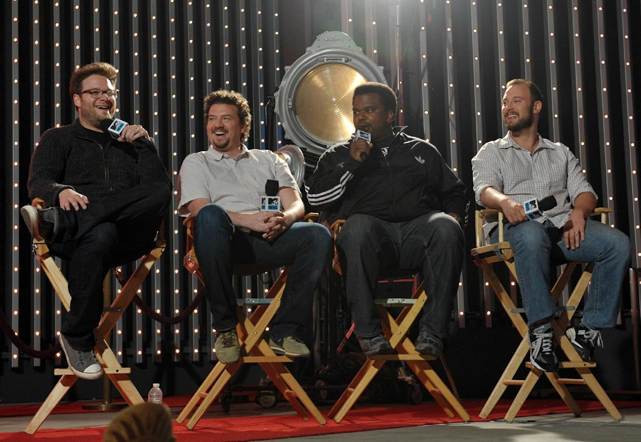 "IMAGE DISTRIBUTED FOR MTV - Members of the cast of ""This is the End"", from left, actors Seth Rogen, Danny McBride, Craig Robinson and Evan Goldberg, are seen at ""The MTV Movie Awards Sneak Peek Week"" on Monday, April 8, 2013 in Universal City, Calif. (Photo by John Shearer/Invision for MTV/AP Images)"