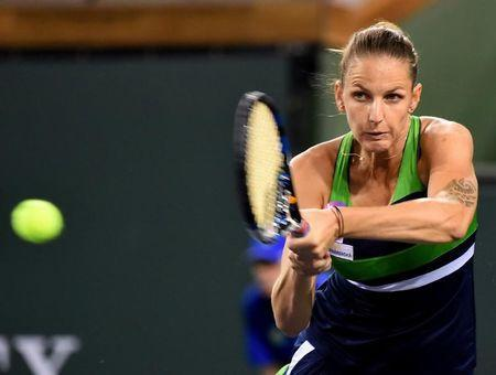 Mar 10, 2017; Indian Wells, CA, USA; Karolina Pliskova (CZE) during her match against Monica Puig (not pictured) at the BNP Paribas Open at the Indian Wells Tennis Garden. Cibulkova won 6-4, 3-6, 6-3. Mandatory Credit: Jayne Kamin-Oncea-USA TODAY Sports