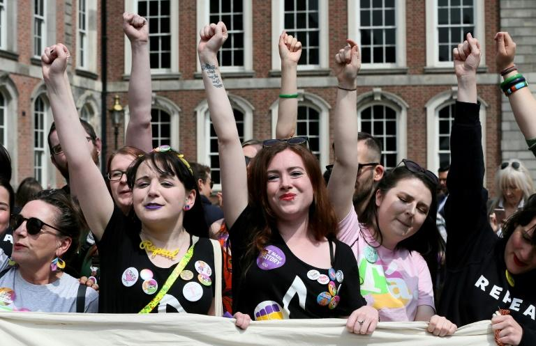 Hugging, celebrating, singing and cheering wildly, thousands crammed into the courtyard of Dublin Castle, where the official result was declared