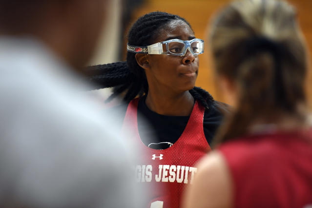 Fran Belibi only started playing basketball three years ago, but the Stanford signee is now famous for her dunking prowess. (Getty Images)