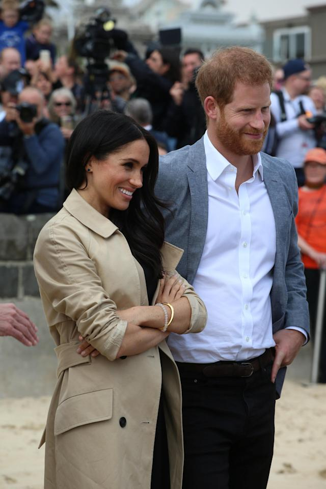 Prince Harry The Duke of Sussex with Meghan Markle the Duchess of Sussex on Day Three of their tour of Australia , the couple visited a beach at Melbourne and joined a clean up operation October 18, 2018. Ian Vogler/Pool via REUTERS