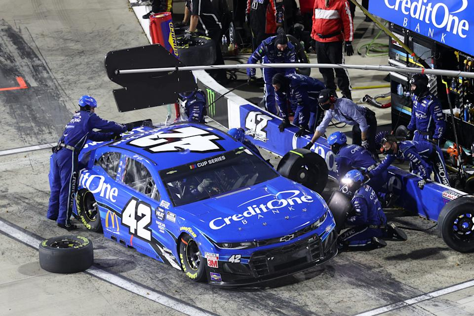 MARTINSVILLE, VIRGINIA - JUNE 10: Matt Kenseth, driver of the #42 Credit One Bank Chevrolet, pits during the NASCAR Cup Series Blue-Emu Maximum Pain Relief 500 at Martinsville Speedway on June 10, 2020 in Martinsville, Virginia. (Photo by Rob Carr/Getty Images)