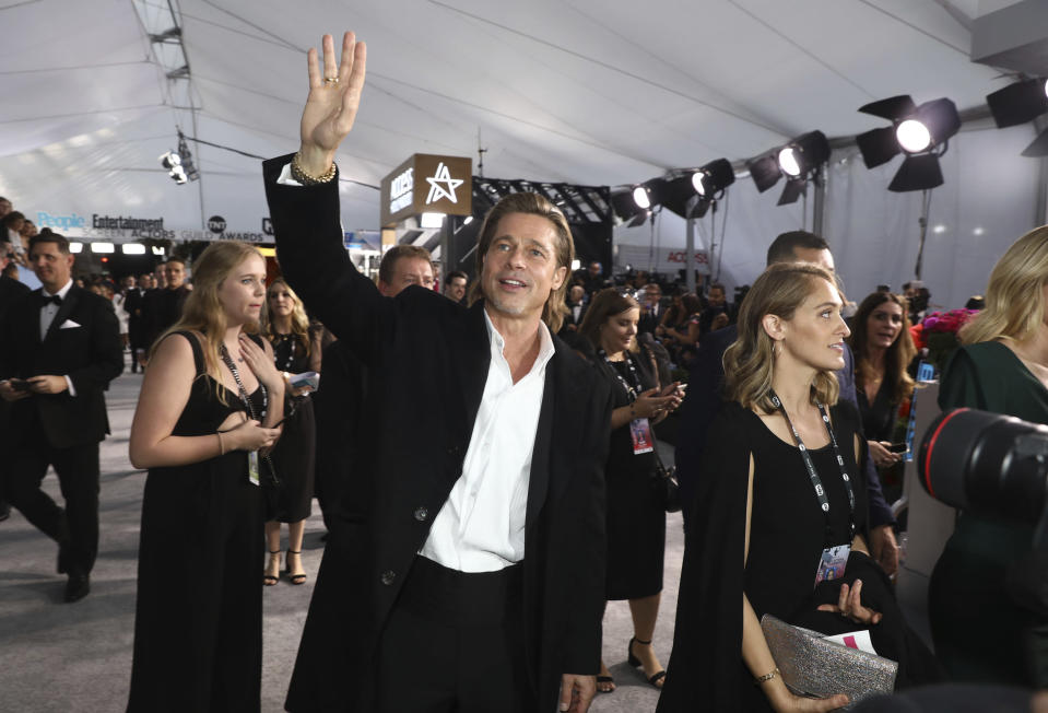 Brad Pitt arrives at the 26th annual Screen Actors Guild Awards at the Shrine Auditorium & Expo Hall on Sunday, Jan. 19, 2020, in Los Angeles. (Photo by Matt Sayles/Invision/AP)