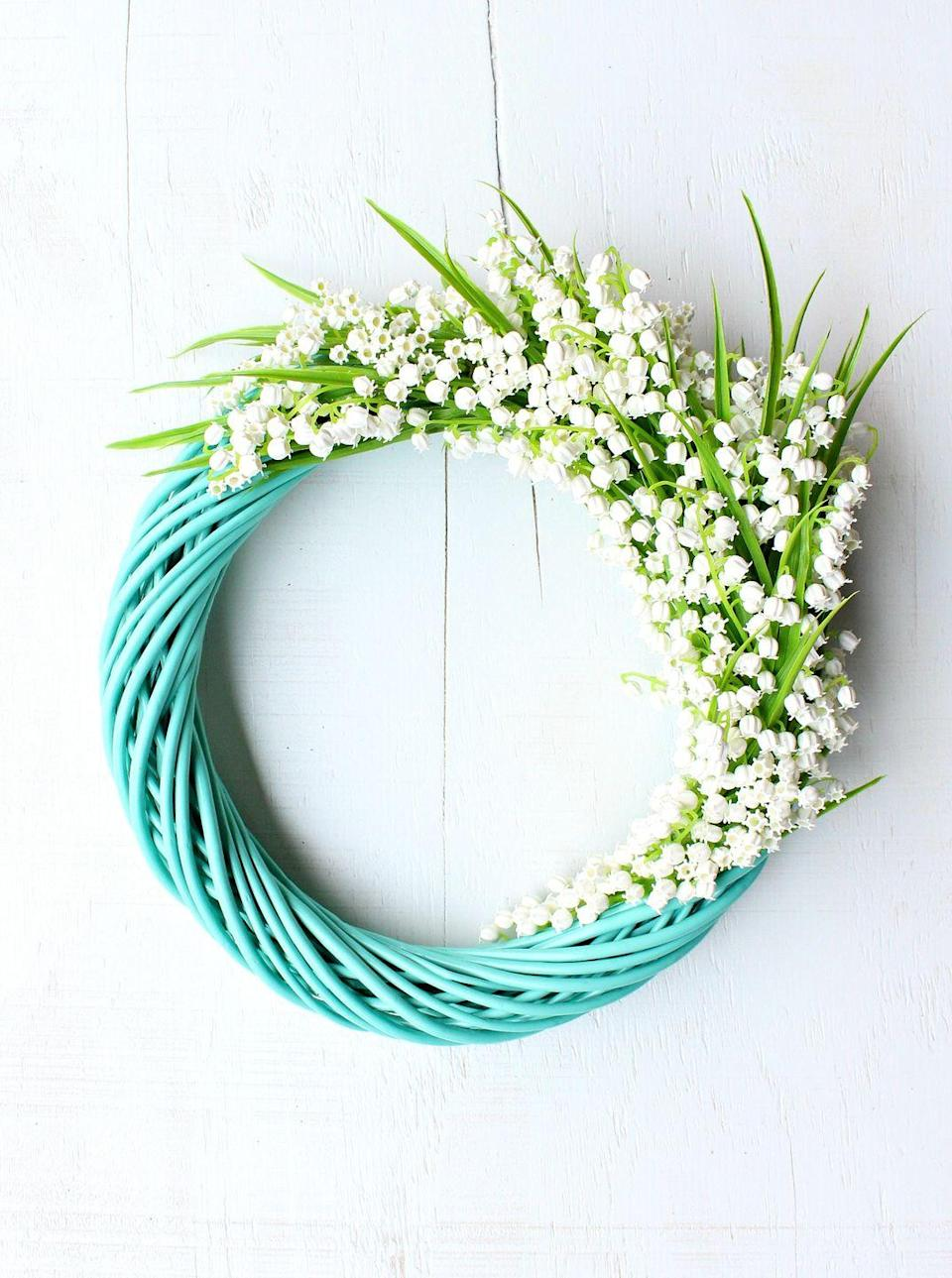 """<p>The sweet scent of lily of the valley flowers may instantly make you think of spring. To create this Easter wreath, you'll use the faux variety that'll last for years to come.</p><p><strong>Get the tutorial at <a href=""""https://www.danslelakehouse.com/2019/07/diy-faux-flower-wreath.html"""" rel=""""nofollow noopener"""" target=""""_blank"""" data-ylk=""""slk:Dans le Lakehouse"""" class=""""link rapid-noclick-resp"""">Dans le Lakehouse</a>.</strong></p><p><a class=""""link rapid-noclick-resp"""" href=""""https://go.redirectingat.com?id=74968X1596630&url=https%3A%2F%2Fwww.walmart.com%2Fip%2F12pcs-Artificial-Lily-of-The-Valley-Flowers-Bush-for-Home-Garden-Wedding-Decoration-12pcs-Artificial-Lily-of-The-Valley-Flowers-Bush-for-Decoration%2F663190981&sref=https%3A%2F%2Fwww.thepioneerwoman.com%2Fhome-lifestyle%2Fcrafts-diy%2Fg35698457%2Fdiy-easter-wreath-ideas%2F"""" rel=""""nofollow noopener"""" target=""""_blank"""" data-ylk=""""slk:SHOP FAUX LILY OF THE VALLEY FLOWERS"""">SHOP FAUX LILY OF THE VALLEY FLOWERS</a></p>"""