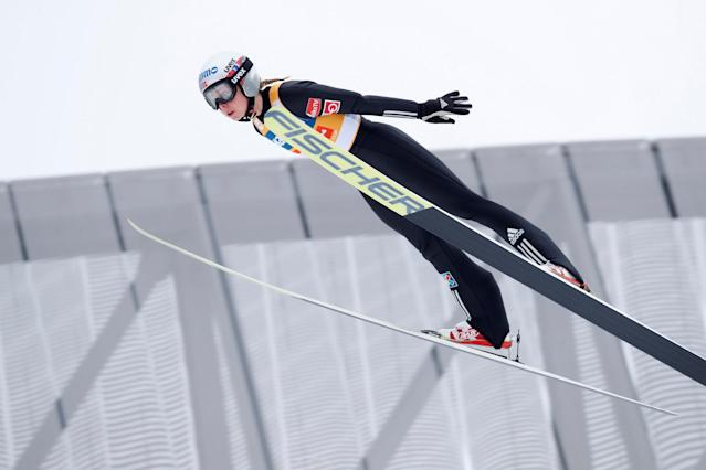 FIS Ski Jumping World Cup - Women's HS134 - Holmenkollen, Norway - March 11, 2018. Daniela Maren Lundby of Norway competes. NTB Scanpix/Terje Bendiksby via REUTERS ATTENTION EDITORS - THIS IMAGE WAS PROVIDED BY A THIRD PARTY. NORWAY OUT. NO COMMERCIAL OR EDITORIAL SALES IN NORWAY.