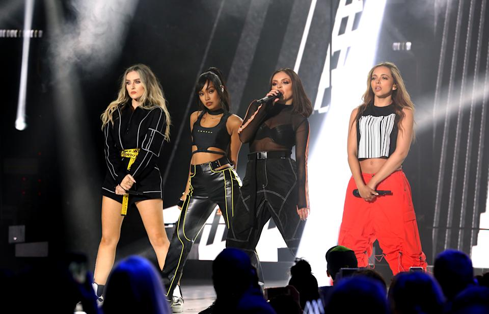 Jesy Nelson, Leigh-Anne Pinnock, Jade Thirlwall and Perrie Edwards of Little Mix perform on stage during The Global Awards 2019 with Very.co.uk held at London's Eventim Apollo Hammersmith.