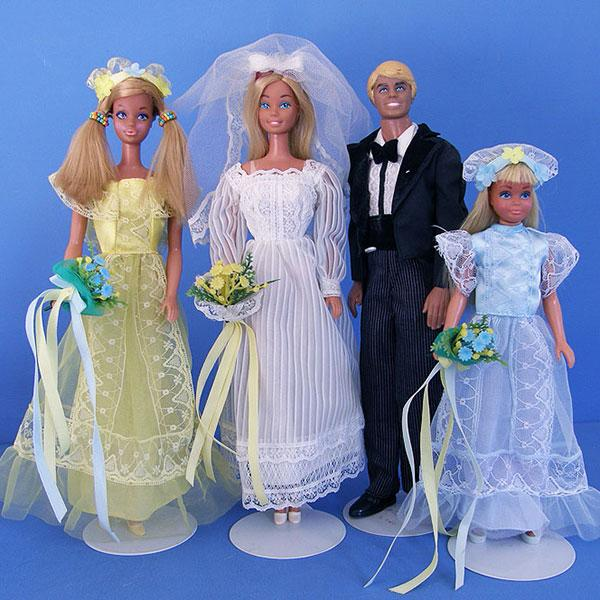 """<div class=""""caption-credit""""> Photo by: Ebay</div><div class=""""caption-title"""">1979: Wedding Belles</div>Looking hippie-chic with their bridesmaid and flower girl, Malibu Barbie and Ken tie the knot."""