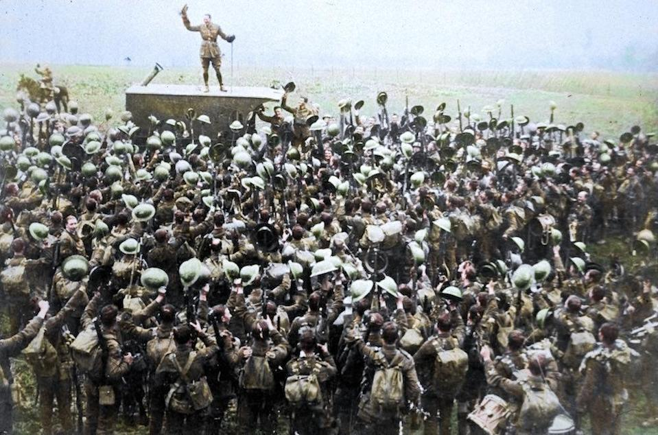 <p>Jubilant soldiers on the Western Front after hearing of the Armistice on November 11th, 1918 (Royston Leonard / Media Drum World / Caters News) </p>
