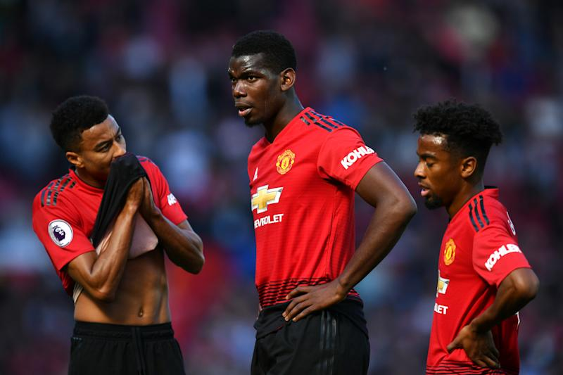 MANCHESTER, ENGLAND - MAY 12: Paul Pogba of Manchester United looks dejected during the Premier League match between Manchester United and Cardiff City at Old Trafford on May 12, 2019 in Manchester, United Kingdom. (Photo by Dan Mullan/Getty Images)