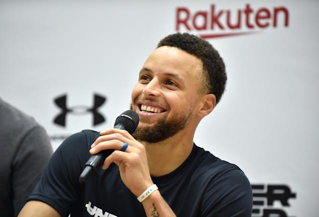 "<a class=""link rapid-noclick-resp"" href=""/nba/players/4612/"" data-ylk=""slk:Stephen Curry"">Stephen Curry</a> has committed to play for Team USA in the 2020 Summer Olympics in Tokyo. (KAZUHIRO NOGI/AFP/Getty Images)"