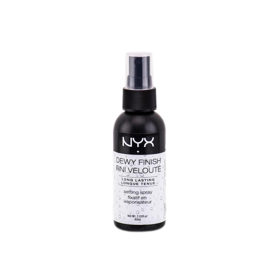 "<p>The Nyx Dewy Finish Makeup Setting Spray is great if you're looking for more of a dewy finish, rather than matte. The drugstore find leaves skin looking luminous but never oily. </p> <p><strong>$9</strong> (<a href=""https://www.amazon.com/NYX-Professional-Makeup-Setting-Finish/dp/B00B4YY1GU"" rel=""nofollow noopener"" target=""_blank"" data-ylk=""slk:Shop Now"" class=""link rapid-noclick-resp"">Shop Now</a>)</p>"