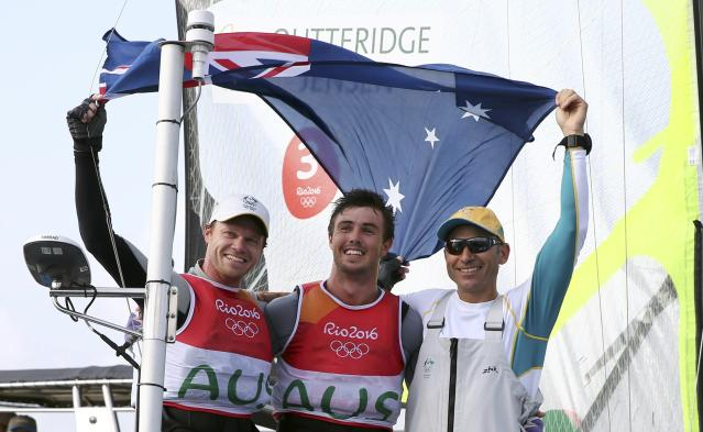 2016 Rio Olympics - Sailing - Final - Men's Skiff - 49er - Medal Race - Marina de Gloria - Rio de Janeiro, Brazil - 18/08/2016. Nathan Outteridge (AUS) of Australia and Iain Jensen (AUS) of Australia celebrate winning silver medal. REUTERS/Benoit Tessier FOR EDITORIAL USE ONLY. NOT FOR SALE FOR MARKETING OR ADVERTISING CAMPAIGNS.