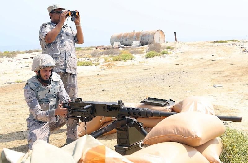 Saudi border guards at a position in the southern Jazan province near the border with Yemen on April 1, 2015