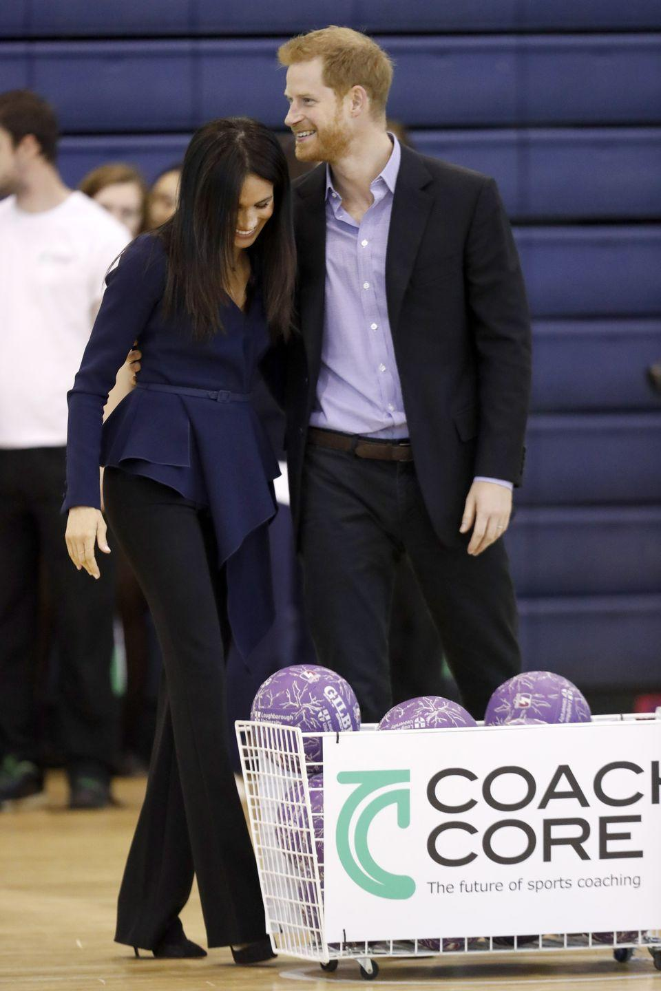 <p>The royal couple looked utterly adorable as they hugged each other at Loughborough University before meeting young sports coaches and hand out gongs to apprentices at the awards ceremony. </p>