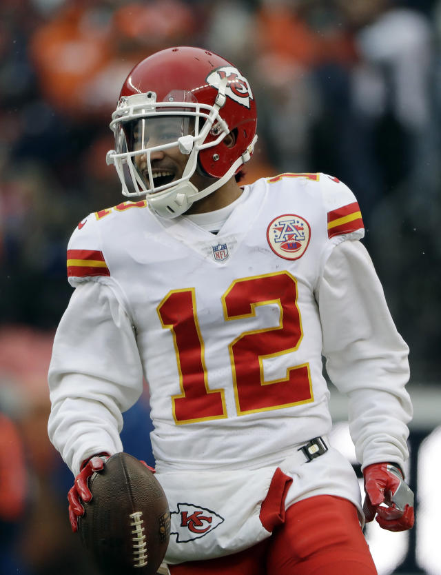 Kansas City Chiefs wide receiver Albert Wilson (12) celebrates after a catch against the Denver Broncos during the first half of an NFL football game Sunday, Dec. 31, 2017, in Denver. (AP Photo/Joe Mahoney )