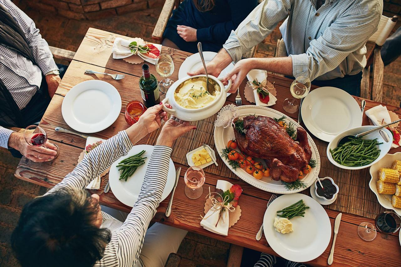 "<p>Thanksgiving may be about indulging in <a rel=""nofollow"" href=""https://www.prevention.com/food-nutrition/healthy-eating/g20495209/diabetes-friendly-thanksgiving-recipes/"">mouthwatering entrees</a> and decadent desserts, but it's important to acknowledge that some of our all-time favorite holiday foods are filled with sky-high amounts of sugar, sodium, and calories. So if you're looking to stick to a healthy diet this holiday season, there are ways save calories and spare you the holiday pounds.  </p><p>To help you save extra calories at your Thanksgiving dinner this year, we asked dietitians to share easy swaps, eating tips, and hacks that will ensure you stay on that healthy path. Trust us: You'll definitely want to keep these strategies handy for the upcoming holiday season.<br></p>"