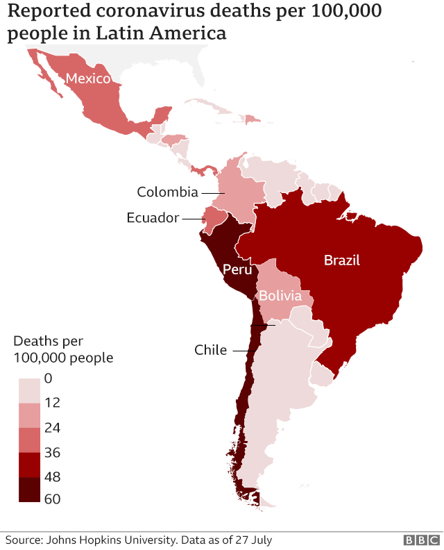 Map of Latin America showing deaths per 100,000 people