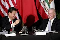 Democratic presidential candidate Joe Biden meets China's now president, Xi Jinping, in Los Angeles in 2012 when both were vice presidents