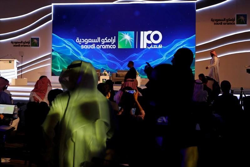 Sign of Saudi Aramco's IPO is seen before the start of a news conference by the state oil company in Dhahran