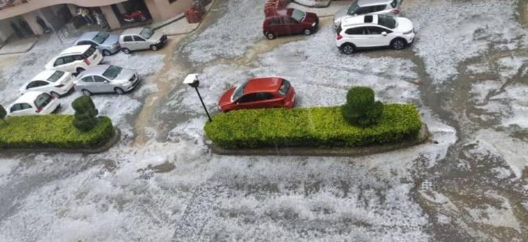 Hailstorm wraps Delhi-NCR streets in white, brings traffic to standstill