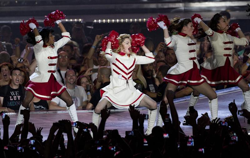 U.S pop icon Madonna performs at the Ramat Gan stadium near Tel Aviv, Israel,Thursday, May 31, 2012. Pop music star Madonna is kicking off her new world tour in front of tens of thousands of ecstatic fans in Israel. (AP Photo/Ariel Schalit)