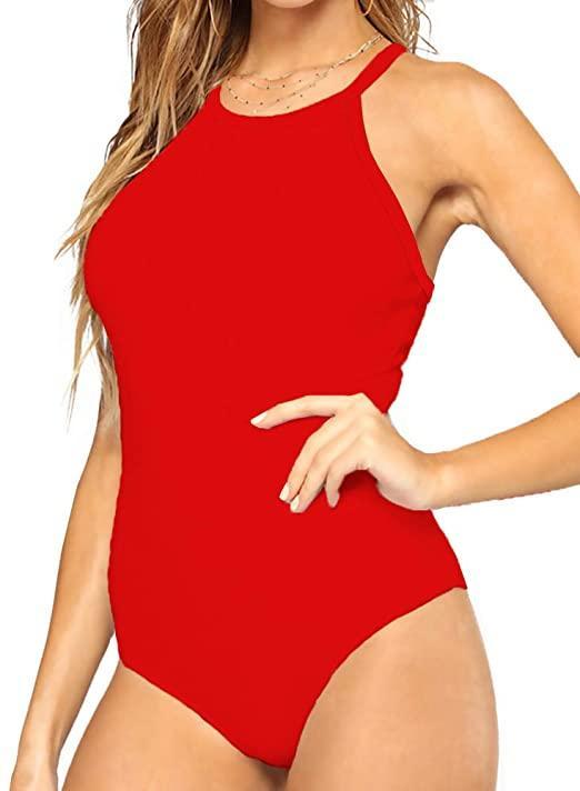 """<h2>All Chic Racerback Bodysuit</h2><br>With a """"Baywatch""""-red hue and a racerback detail, this can't-miss layer makes for a sporty addition to your wardrobe.<br><br><strong>Allchic</strong> Racerback Bodysuit, $, available at <a href=""""https://amzn.to/2WV9vnX"""" rel=""""nofollow noopener"""" target=""""_blank"""" data-ylk=""""slk:Amazon"""" class=""""link rapid-noclick-resp"""">Amazon</a>"""