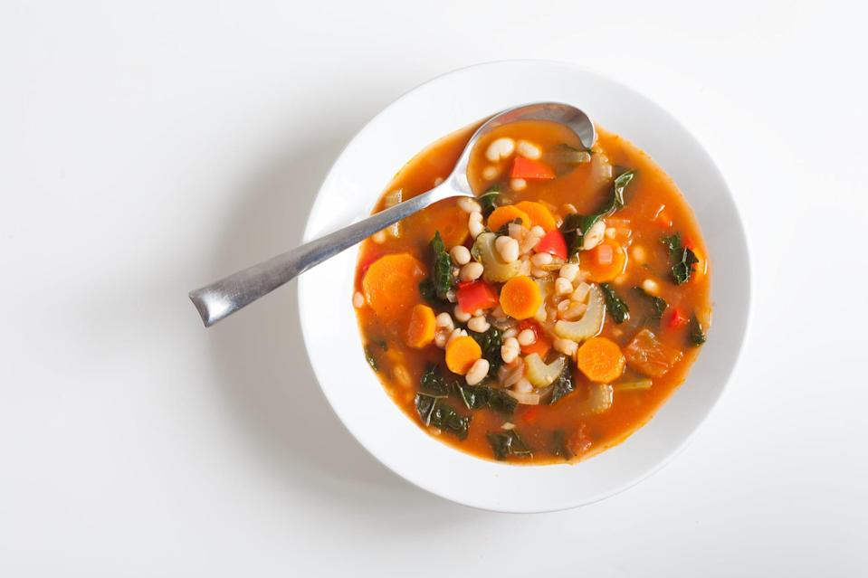 "<p>Personally, I feel like there's no easier way to sneak veggies into your diet than to find plant-based soups you love and eat them regularly. What's worked for me so far: mastering a couple of <a href=""https://www.popsugar.com/fitness/Healthy-Instant-Pot-Soups-45309033"" class=""link rapid-noclick-resp"" rel=""nofollow noopener"" target=""_blank"" data-ylk=""slk:Instant Pot soup recipes"">Instant Pot soup recipes</a> and finding a few canned (and boxed) soups I enjoy. I can't recommend <a href=""https://www.popsugar.com/fitness/high-protein-vegan-chili-instant-pot-recipe-47973345"" class=""link rapid-noclick-resp"" rel=""nofollow noopener"" target=""_blank"" data-ylk=""slk:vegan chili"">vegan chili</a> and Campbell's Well Yes! soups enough.</p>"