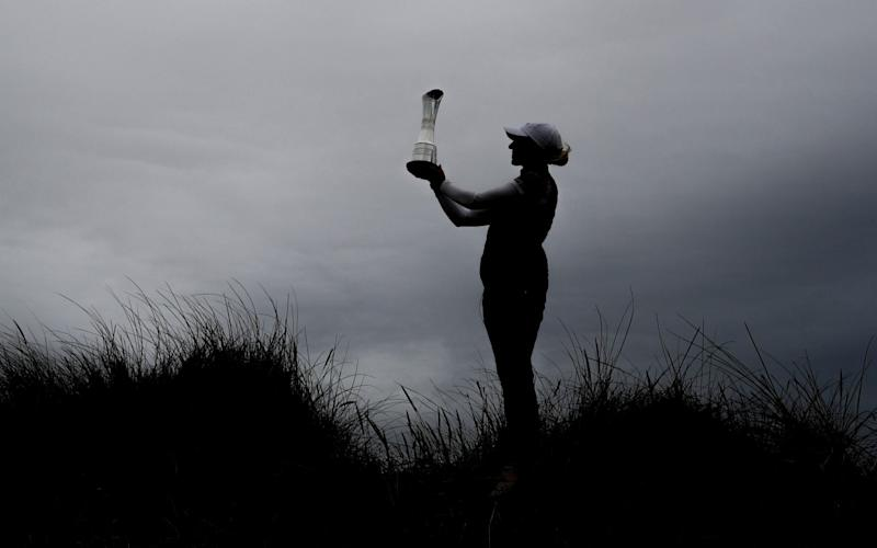 Sophia Popov of Germany poses with the trophy following victory in the final round on Day Four of the 2020 AIG Women's Open at Royal Troon on August 23, 2020 in Troon, Scotland. - GETTY IMAGES