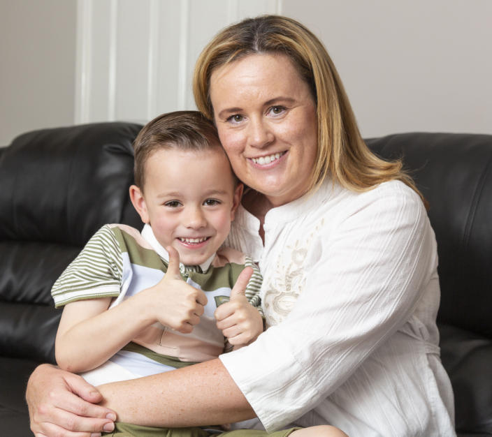 Joanne Carr's son Dougie, now 5, has been hailed by his mother as her 'guardian angel' [Photo: Joanne Carr/SWNS]