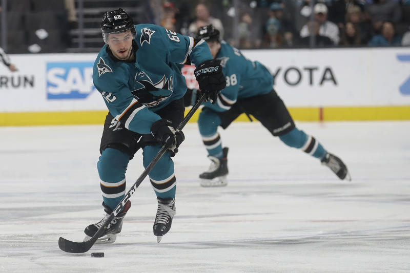 San Jose Sharks right wing Kevin Labanc (62) skates up the ice against the Anaheim Ducks during the first period of an NHL hockey game in San Jose, Calif., Monday, Jan. 27, 2020. (AP Photo/Jeff Chiu)