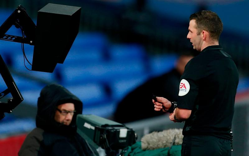 Pitchside monitors have been used by officials in the FA Cup but not yet in the Premier League - AFP