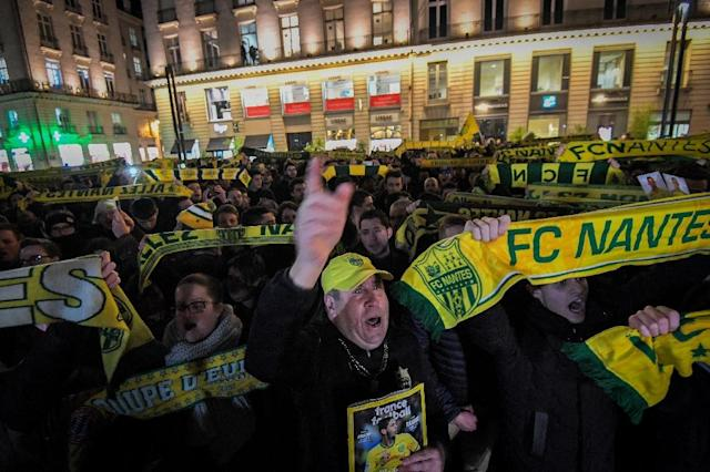 Nantes fans held a vigil in the French city in support of Sala (AFP Photo/LOIC VENANCE)