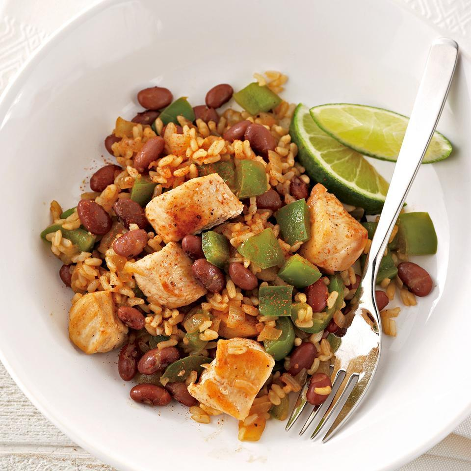 <p>Fiber-rich red beans, whole-grain brown rice and skillet-cooked chicken breast are ready in just 20 minutes.</p>